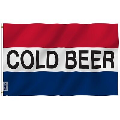 Anley Cold Beer Flag Vivid Color And Uv Fade Resistant Polyester 3X5 Ft Flags