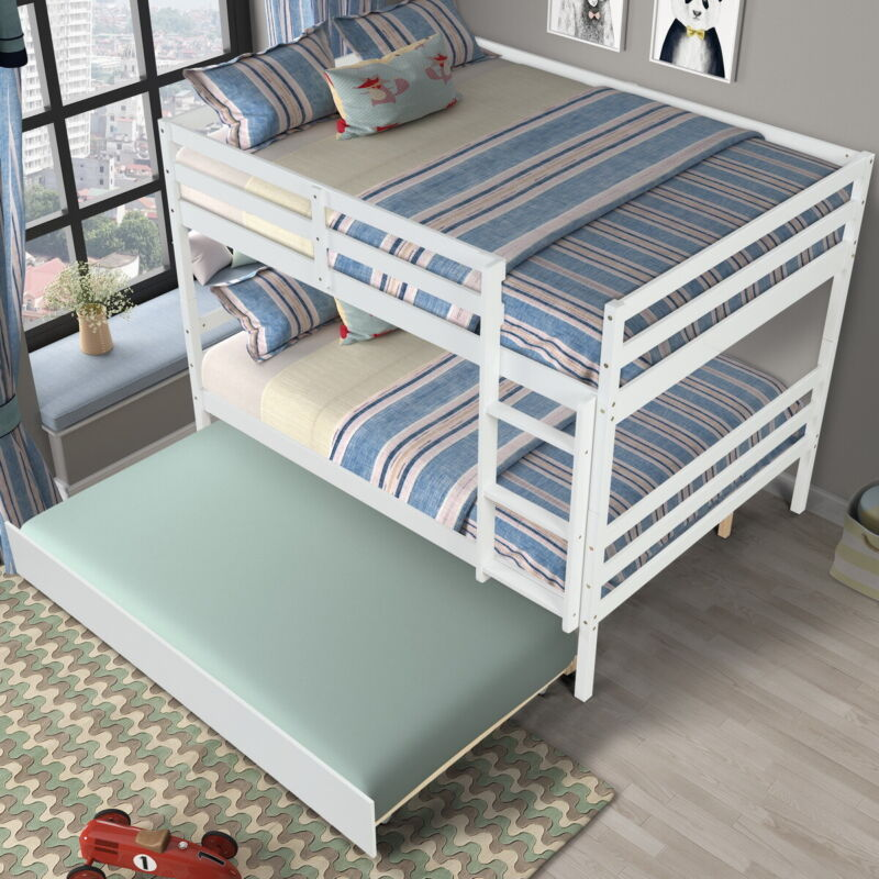 Wood Bunk Beds Full Over Full Bed Frame Bed Platform w/ Twin Size Trundle White
