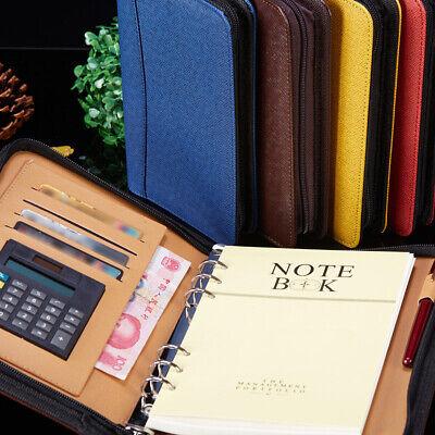 Pu Leather Cover A6a5 Zipper Notebook Loose-leaf Business Notepad W Calculator