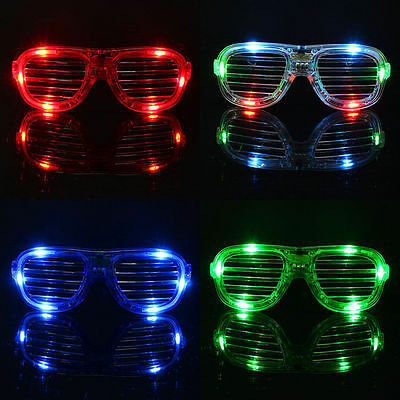 Flashing LED Light Up Slotted Shutter Shades Sunglasses ()