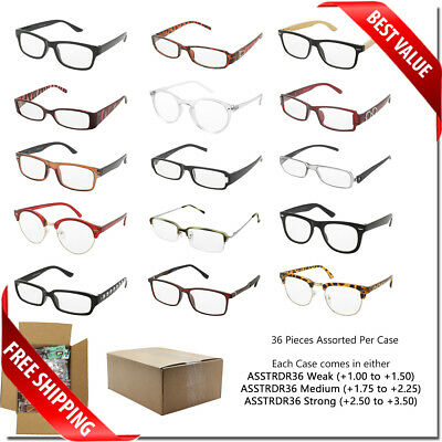 READING GLASSES WHOLESALE BULK LOT 36 PCS MIX STYLES WEAK MEDIUM STRONG (Bulk Reading Glasses Wholesale)