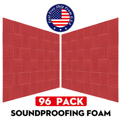 """96 PACK 10"""" X 10"""" X 2"""" Acoustic Foam Panel Wedge Studio Soundproofing Wall Tiles"""