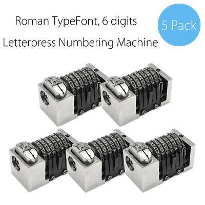 5pc Letterpress Numbering Machine 6 Digit Backward For Heidelberg Windmill