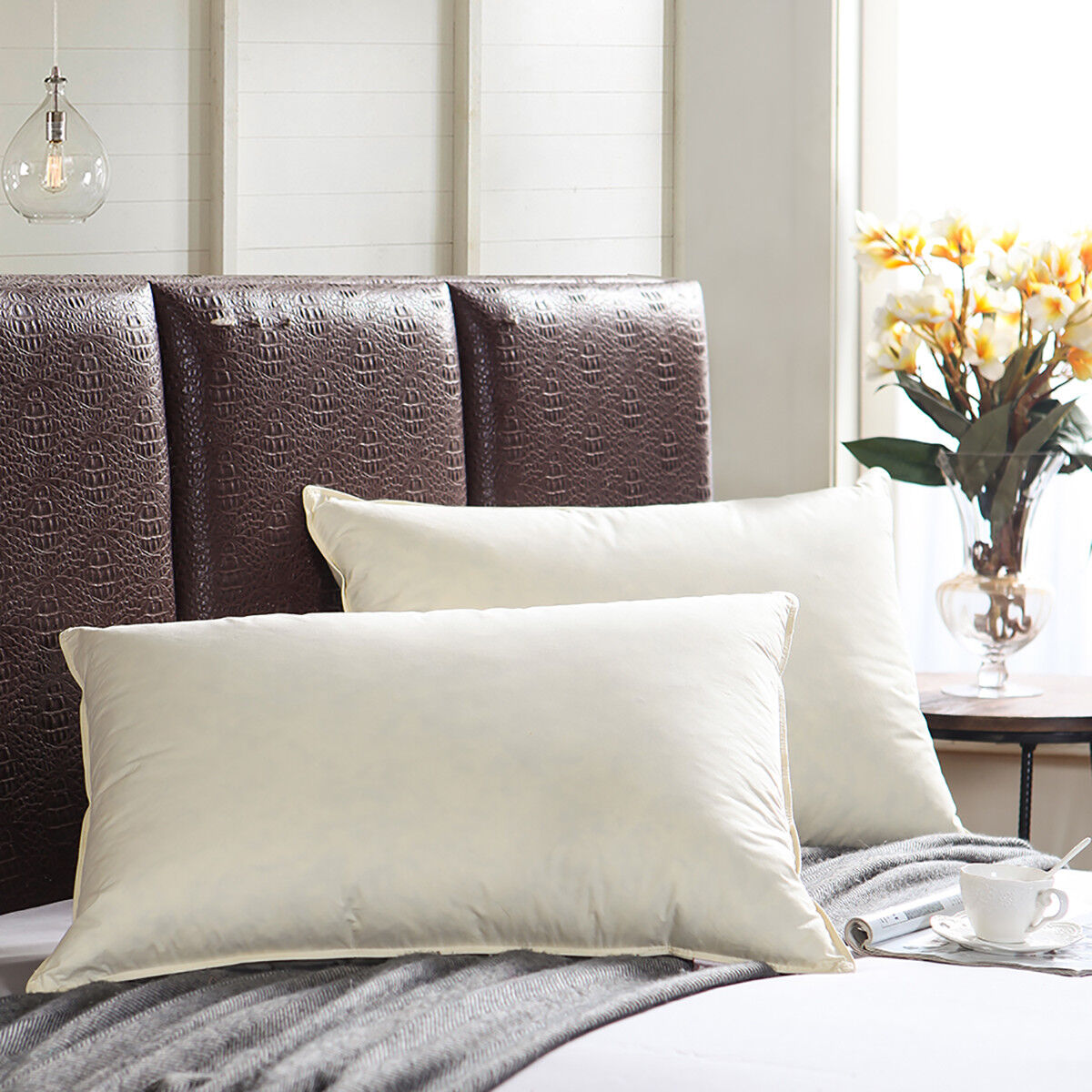 1000TC 100% Egyptian Cotton Down Feather Pillows Queen Size