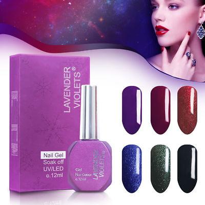 12ML* 6PCS LOT Lavender Violets UV LED Soak Off Nail Gel Polish Red ShimmerCombo