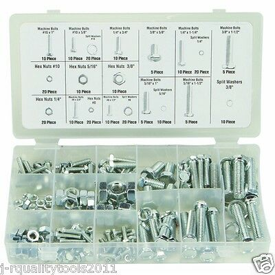 240 Pc Piece Sae Standard Size Nut And Bolt Screw Assortment Hardware Kit