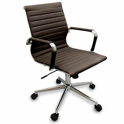 New Coffee Brown Modern Ribbed Office Chair - Computer Desks Conference Rooms