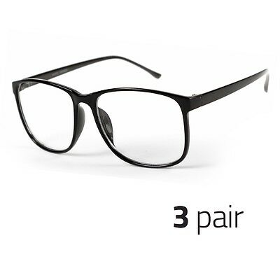 3 PAIR Large Oversized  Glasses Clear Lens Thin Frame Nerd Glasses - Pair Clear Lens