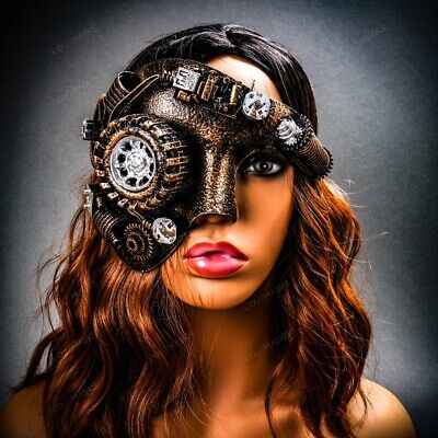 Party Face Masks (Steampunk Phantom Half Face Halloween Night Party Masquerade Masks with LED)
