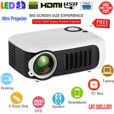 Mini Portable Pocket A2000 Projector Portable Theater Home Office HD 1080P LED