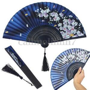 Chinese Japanese Folding Bamboo Silk Hand Held Dance Fan Party Wedding Prom UK