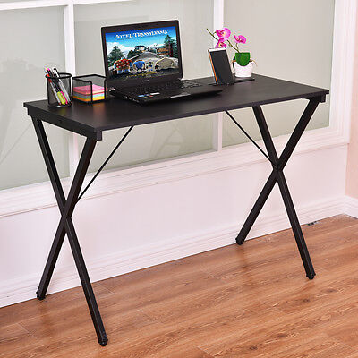 Computer Desk Wood Metal PC Laptop Table Writing Study Workstation Home Office