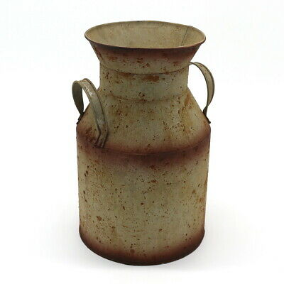 Galvanized Metal Milk Can, Old Rustic Primitive Jug Vase Home and Garden -