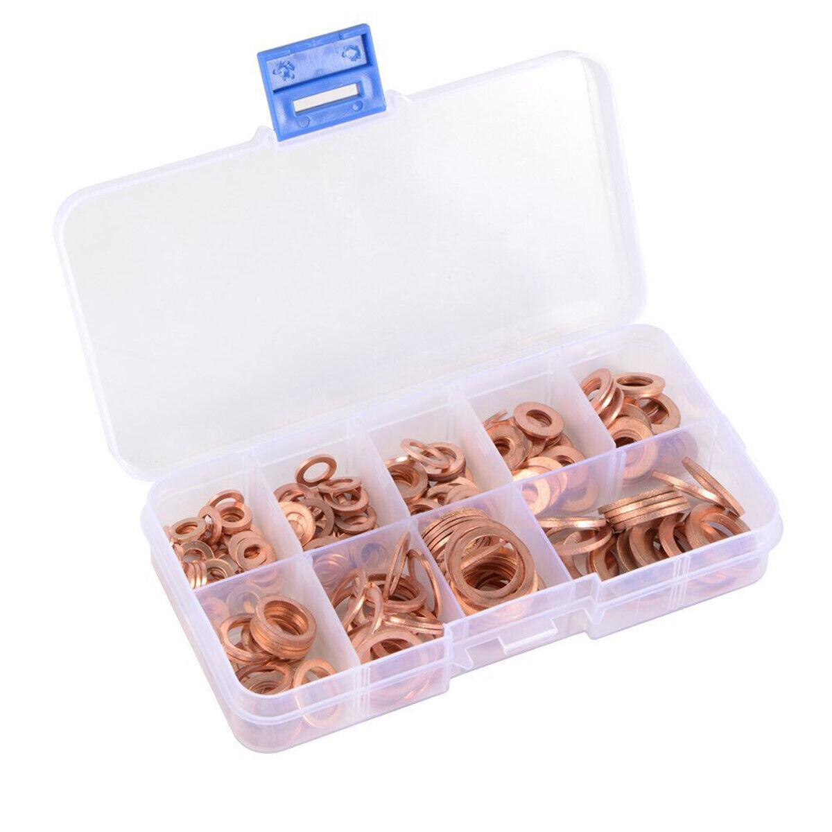 Juego de 200 arandelas de cobre de 9 tama/ños M5-M14 juntas de cobre con anillo plano y caja de pl/ástico para equipos de maquinaria