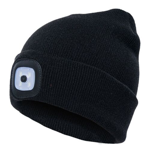 Unisex Head Lamp Light LED Beanie Hat With USB Button Cell Battery High Powered