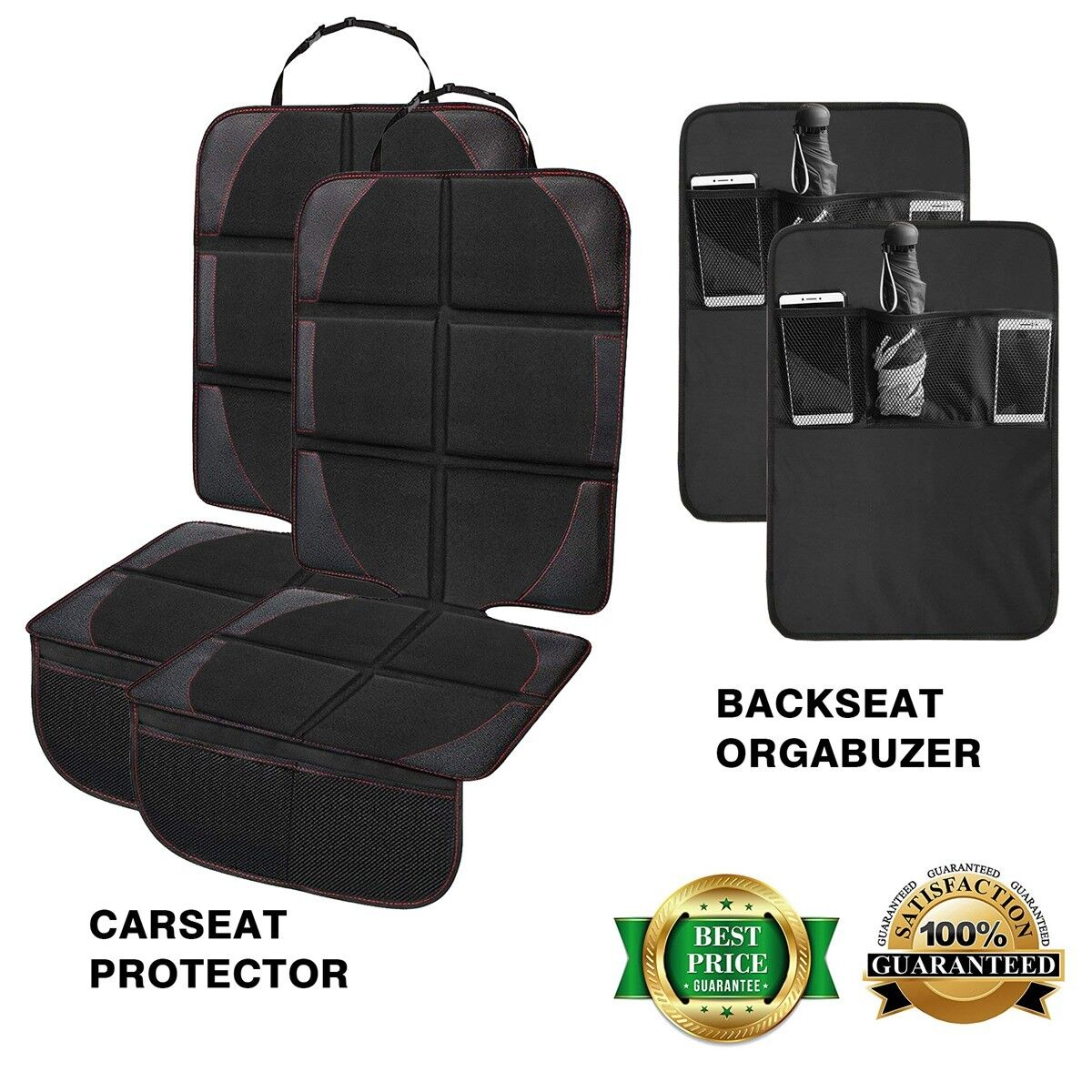 Premium Leather Car Seat Covers Kick Mats for Baby &Infant