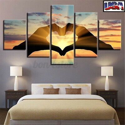 5PCS 3D Abstract Love Group Canvas Print Painting Picture Home Wall Decor Craft