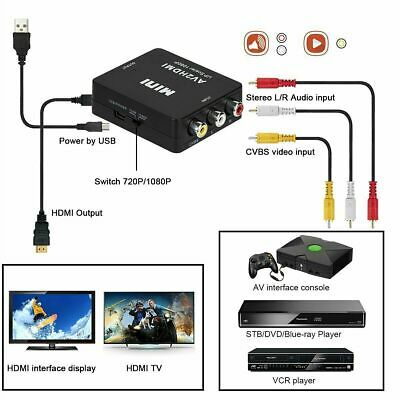 RCA to HDMI Converter Adapter AV 1080P For TV Audio Video Composite CVBS AV2HDMI