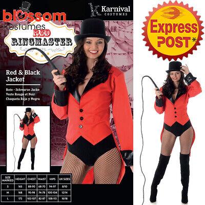 CA219 Ladies Red Ringmaster Ringmistress Circus Halloween Fancy Costume - Ring Mistress Jacket