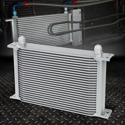 UNIVERSAL ALUMINUM PRO RACING ENGINE OIL COOLER 25 ROW 10AN POWDER COATED SILVER Universal Oil Cooler