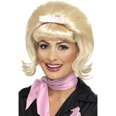 Womens Blonde Bouffant Wig 50s Hair Pink Bow Poodle Beehive Costume Halloween](Pink Bouffant Wig)