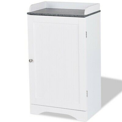 Marble Bathroom Storage Cabinet - White Bathroom Floor Storage Cabinet Marble Countertop Adjustable Shelves 3 Tier