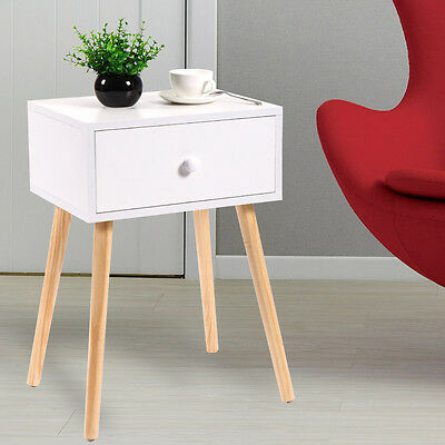 Wooden Tea /Side Table Nightstand With Drawer Modern Retro Decor Furniture White (1 Drawer Modern Nightstands)