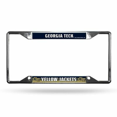 Georgia Tech Yellow Jackets NCAA Chrome EZ View 4 corner License Plate Frame Georgia Tech Yellow Jackets Framed