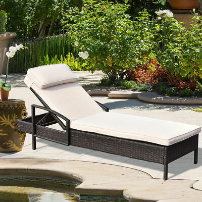 Chaise Lounge Chair Brown Outdoor Wicker Rattan Couch Patio Furniture W/Pillow ()