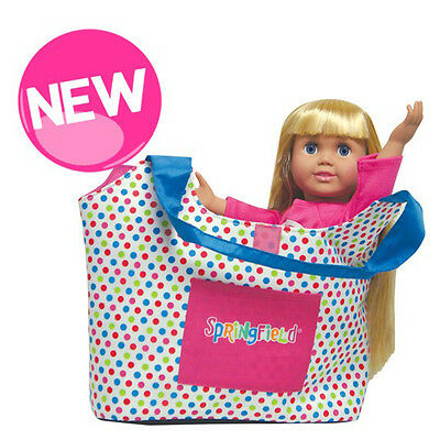 "SF Springfield DOLL CARRIER for 18"" Dolls American Girl Polka Dot Bag NEW"