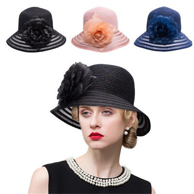 Glitter Womens Kentucky Derby Bucket Cloche Hat Polyster Wedding Church Hat A483