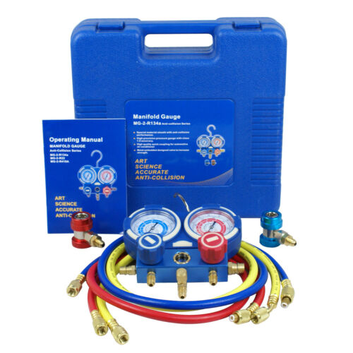 R134a R410a R22 AC A/C Manifold Gauge Set 4FT Colored Hose Air Conditioner Business & Industrial