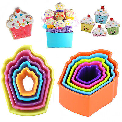 5 Muffin Cookie Cutter Cup Cake Shape Decor Bake Pastry Biscuit Plastic Moulds