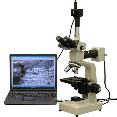Amscope 40x-1000x Two Light Metallurgical Microscope 9mp Digital Camera
