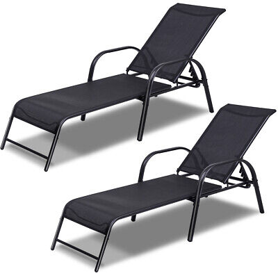 Set of 2 Patio Lounge Chairs Sling Chaise Lounges Recliner Adjustable Back New Adjustable Chaise Lounge Set