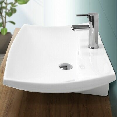 Lavabo sobre encimera cerámica pila fregadero común baño rectangular 605x460mm