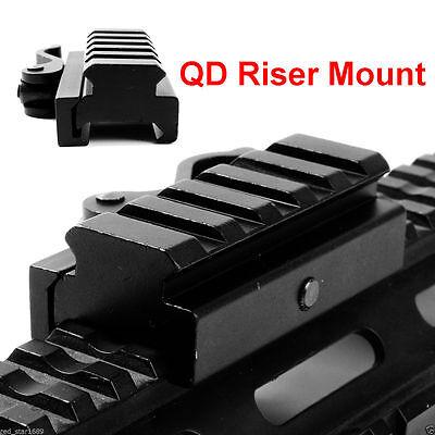 60mm Length 15mm Riser QD Mount Rail Base for 20mm Picatinny Weaver Flat Top 15 Flat Top Riser Mount