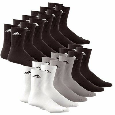 12 Paar adidas Crew Sportsocken 35-46 Schwarz o. Sortiert Socken 3 Stripes Socks