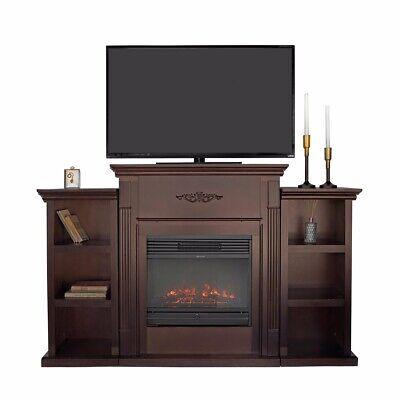 Home elegant espresso w/ Electric Fireplace 5000 btu Bookcases TV Stand mantels
