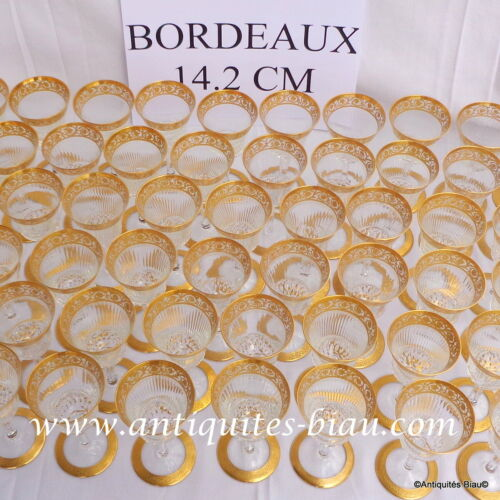 Bordeaux glasses in crystal Saint Louis Thistle Gold model PERFECT 5.6 inch