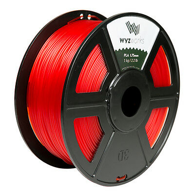 Wyzwork 3d Printer Premium Pla Filament 1.75mm 1kg2.2lb - Translucent Red