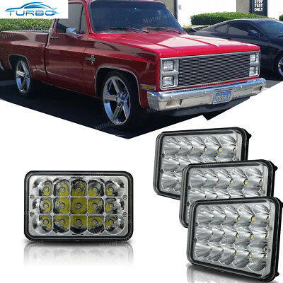 For 1981-1987 Chevy Pickup Dual Rectangular LED Headlight High Low Beam 4pcs - 1986 Chevrolet K30 Replacement