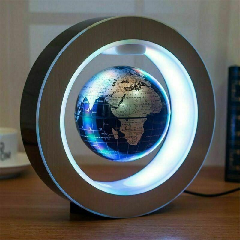 Round O Shape Magnetic Levitation Floating Globe World Map w/ LED Light Blue 9