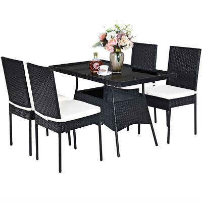 Garden Furniture - 5PCS Patio Rattan Dining Set Wicker Chair Table Outdoor Garden Furniture Set