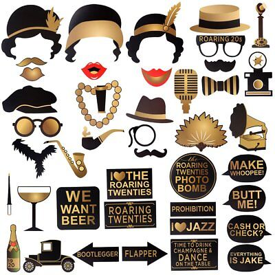 Great Gatsby Party Photo Booth Props 42pcs Roaring 20s Twenties 1920s Props](Roaring Twenties Party Decorations)