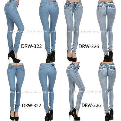 Hot Women Skinny Jeans PushUp Acid Wash Denim Blue Stretchy Slim Pants Size  3-5