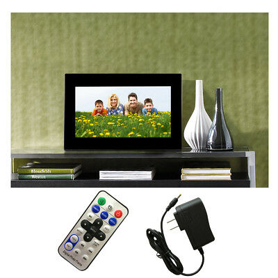 "NEW 7"" HD LCD Digital Photo Frame With Alarm Clock Slideshow MP3/4 Player Black"