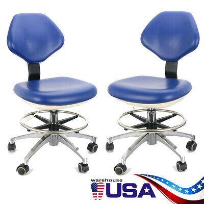 2pcs Adjustable Stool Dentist Work Chair Hydraulic Rolling Stool Rebound Foam