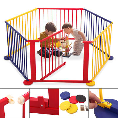 Foldable Baby Playpen 6 Panel  Wooden Kids Play Center Play Yard Indoor Outdoor