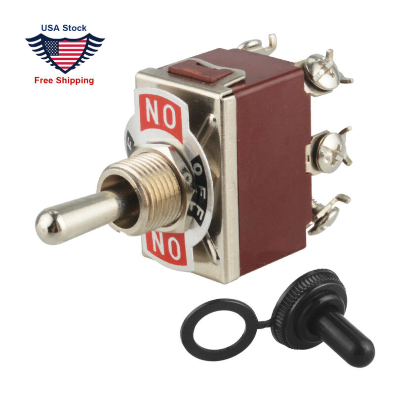 MOMENTARY ON -OFF- MOMENTARY ON Toggle Switch+Boot Heavy Duty 125V DPDT 6Pin